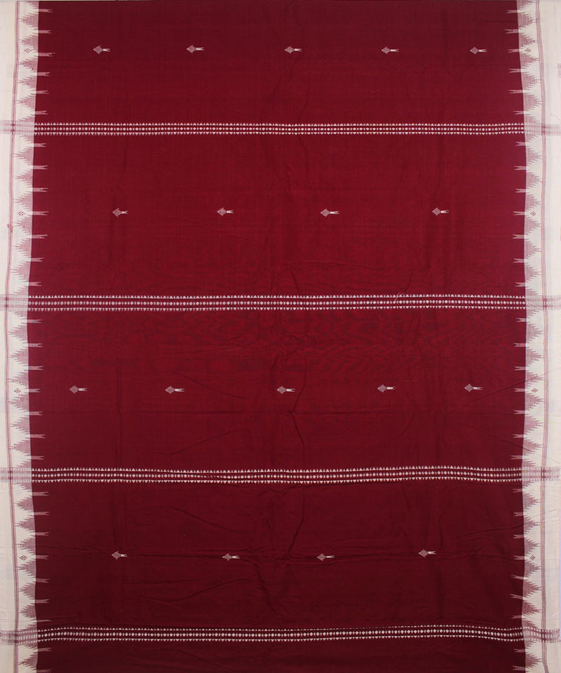 Red and White Kotpad Handloom Cotton Saree