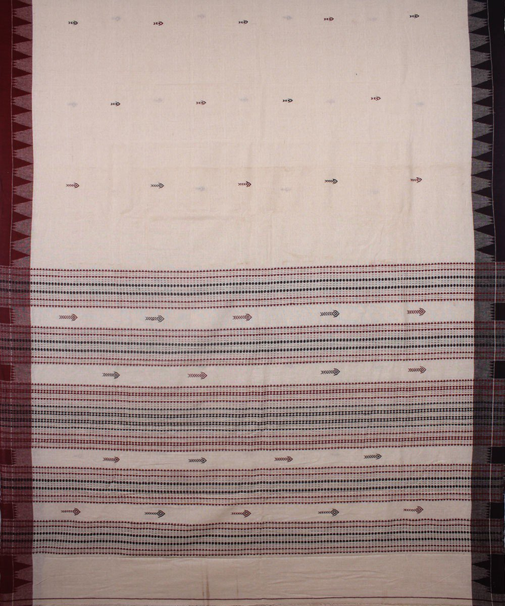 Kotpad Off White Maroon Handloom Cotton Saree