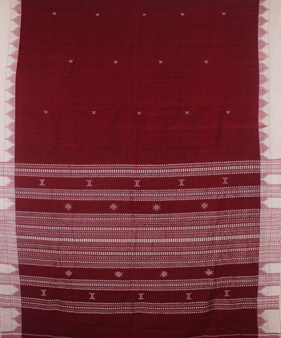 Kotpad Red and White Handloom Cotton Saree