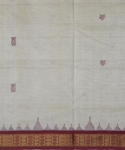 Handwoven Tussar Silk Saree Offwhite Red