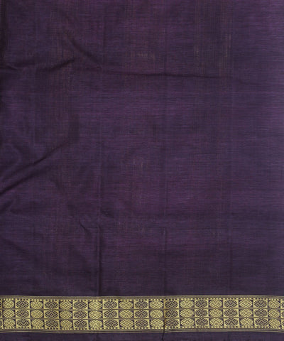 Handwoven Tussar Silk Saree Offwhite Purple