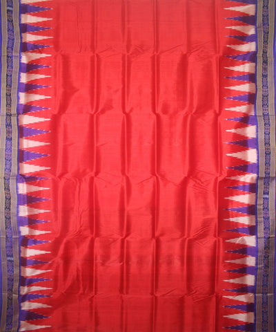 Red Blue Handwoven Khandua Silk Saree