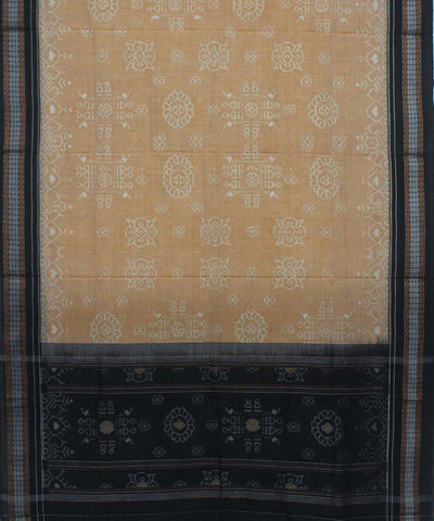 Handwoven Sambalpuri Dupatta in Cream Black