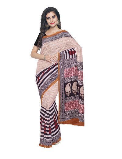 White Yellow Bagh Hand Printed Cotton Saree