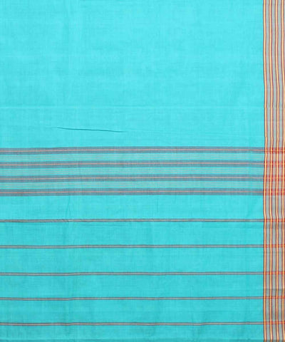 Cyan Blue Handloom Manamedu Cotton Saree