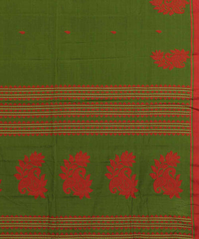 Bengal Handwoven Green Red Cotton Saree