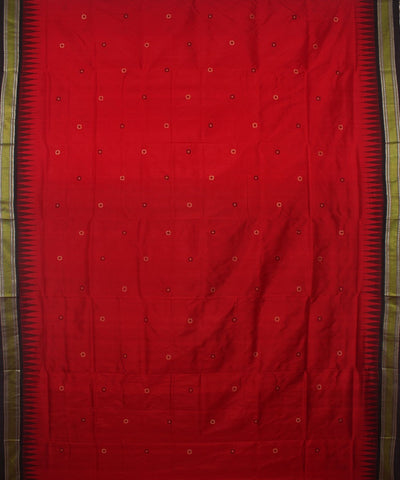 Bomkai Silk Red Black Handloom Saree