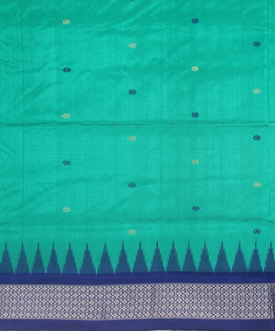 Handloom Bomkai Silk Saree Green Blue