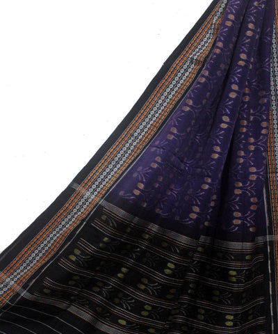 Deep violet and Black Handloom Cotton Dupatta