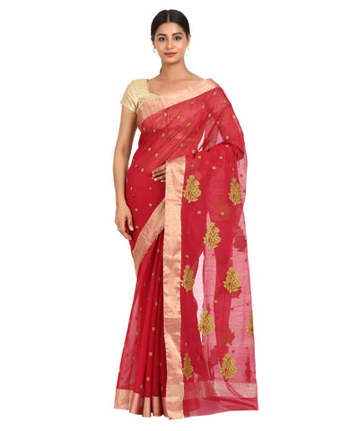 Red with Green Handwoven Chanderi Sico Saree