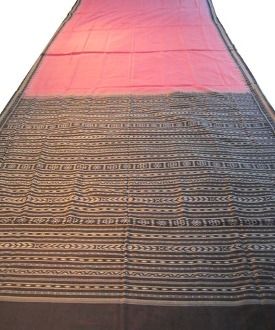 Traditional Pink and Black Cotton Saree