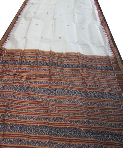 Nuapatna White and Coffee Khandua Silk Saree