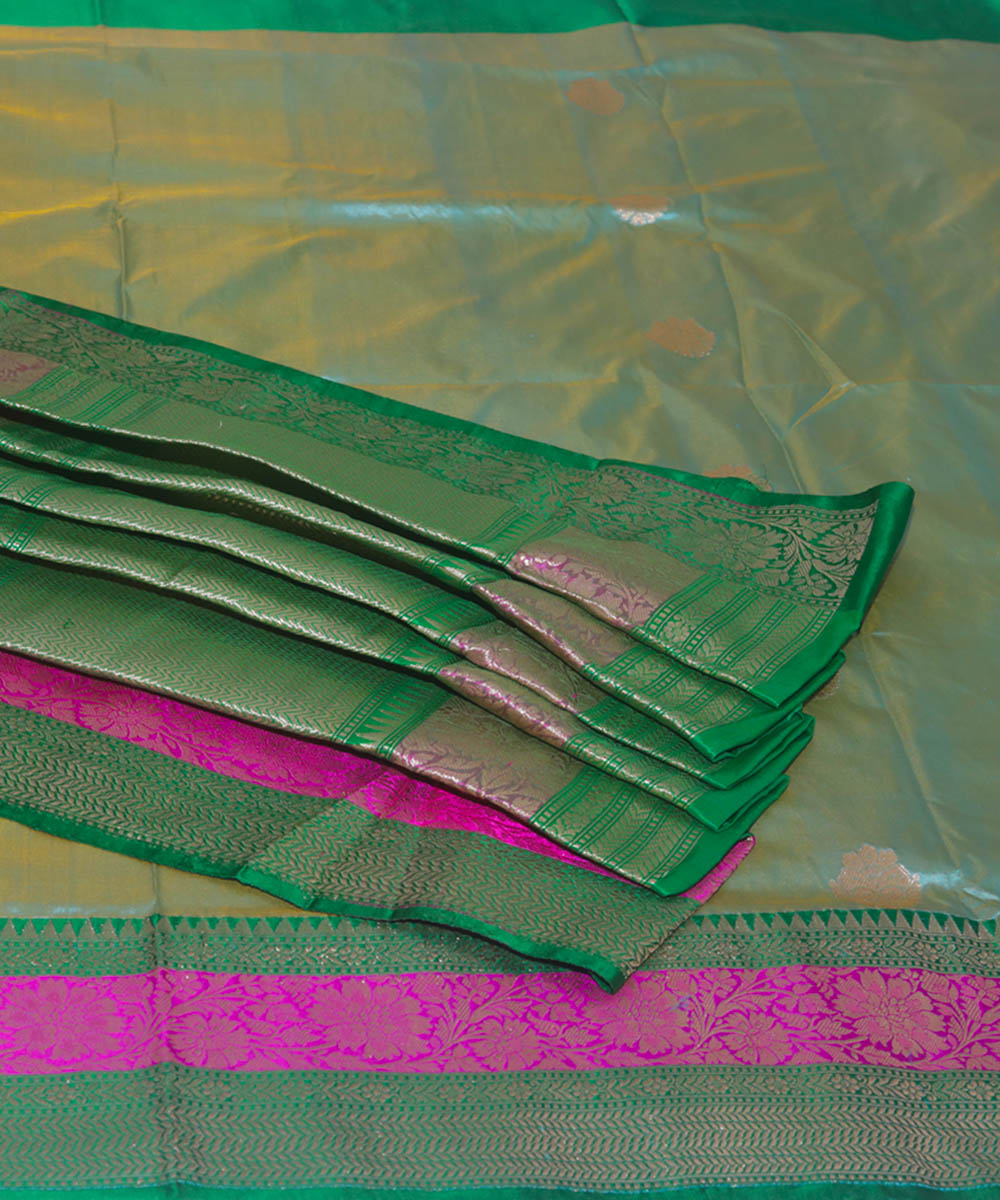 Sky blue green handloom silk banarasi saree
