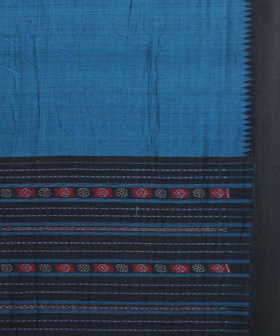 Dark Navy Handwoven Sambalpuri Cotton Saree