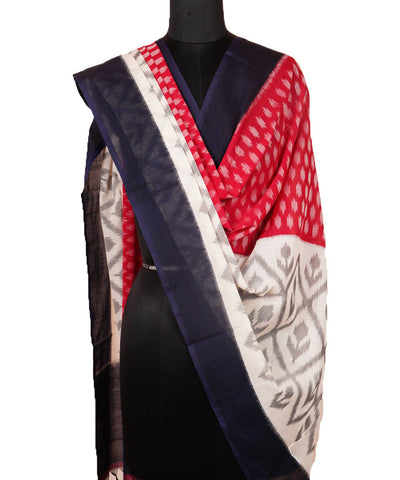 Handwoven Red Black Ikkat Cotton Dupatta