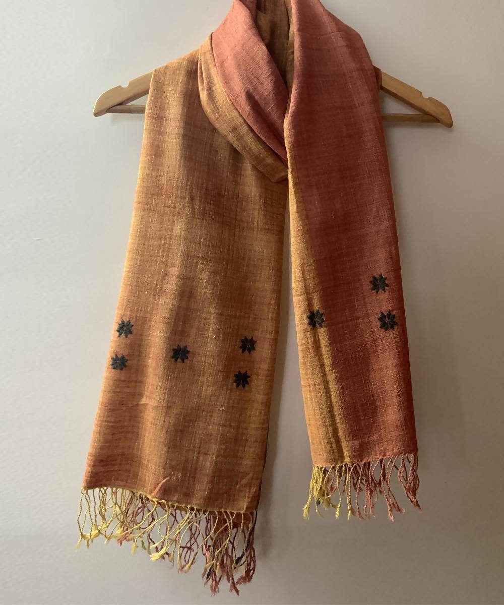 Beige natural dyed assamese eri silk handwoven stole