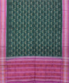 Bottle Green Pink Handloom Cotton Dupatta