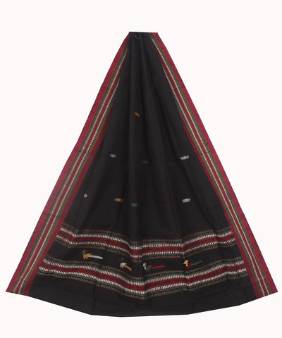 Dongaria Handloom Cotton Dupatta Black Maroon