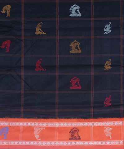 Yoga motifs Handloom Bomkai Silk Saree Black Orange