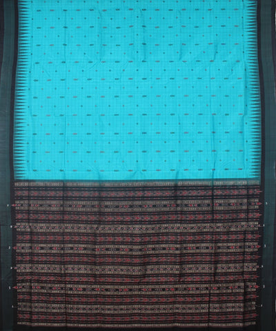 Handloom Bomkai Silk Saree Blue Black