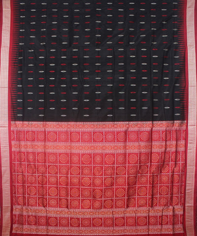 Black and Red Bomkai Silk Handloom Saree