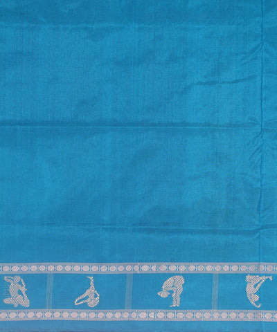 Yoga motifs Handloom Bomkai Silk Saree Blue