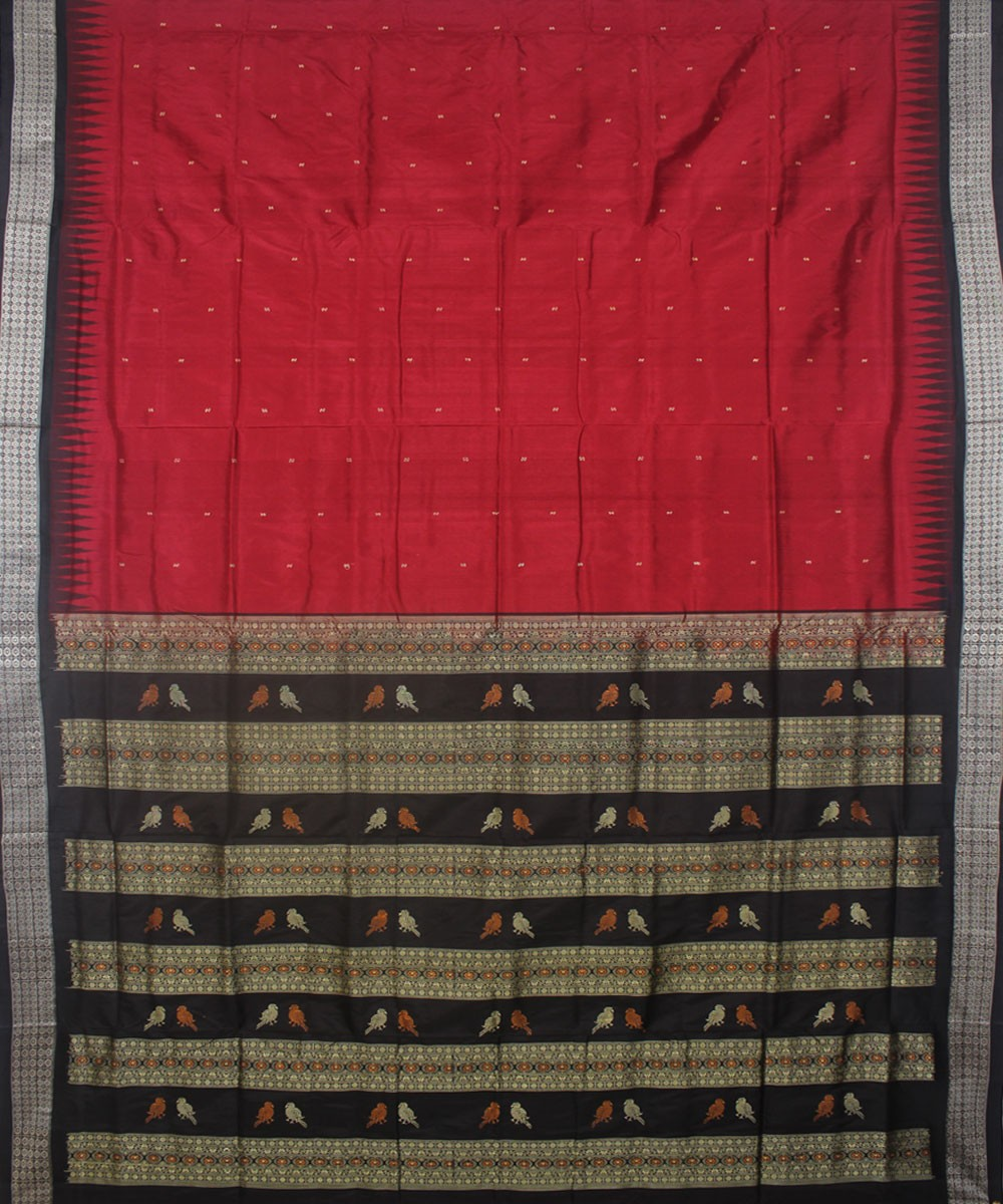 Maroon Black Handloom Bomkai Silk Saree