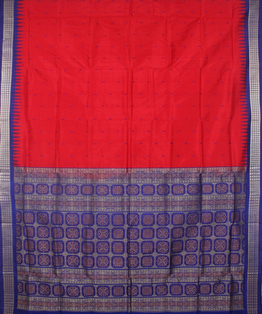Red Blue Handloom Bomkai Silk Saree