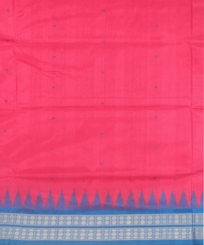Handwoven Bomkai Silk Saree Pink Blue