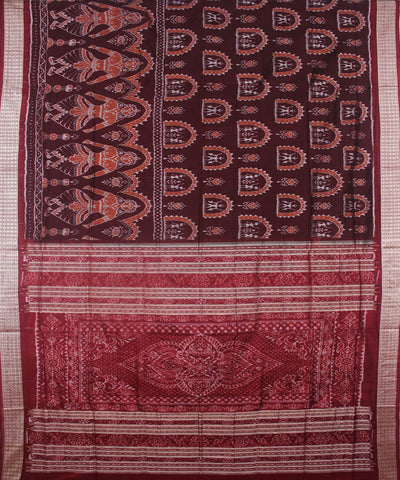 Handwoven Sambalpuri Ikat Silk Saree Coffee Maroon