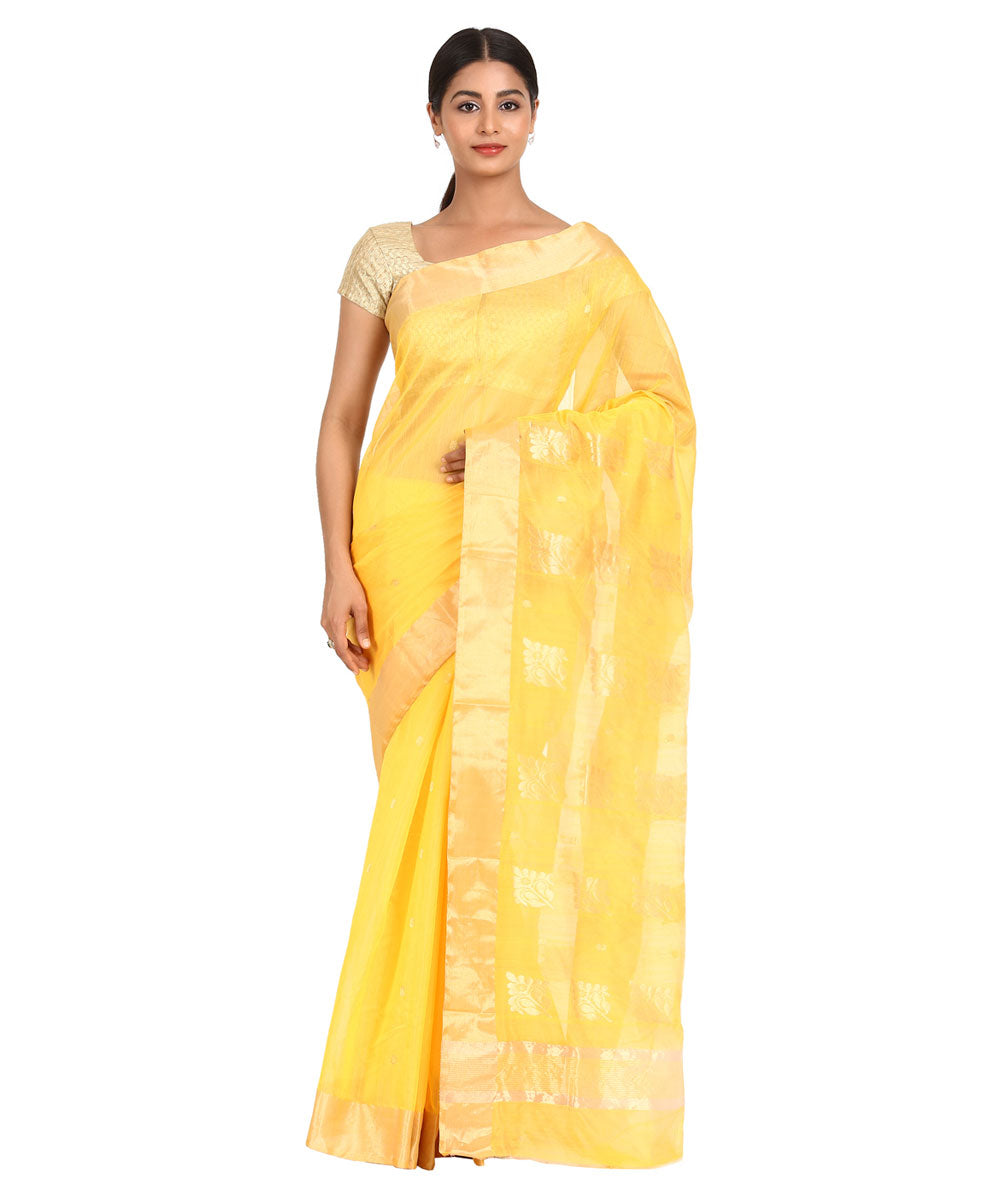 Yellow Handwoven Chanderi Sico Saree