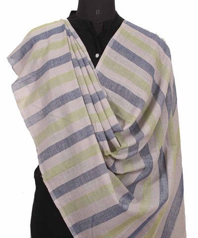Handwoven Grey Light green Cotton Dupatta