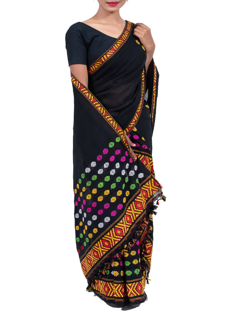 Black Cotton Handloom Mekhela Chador