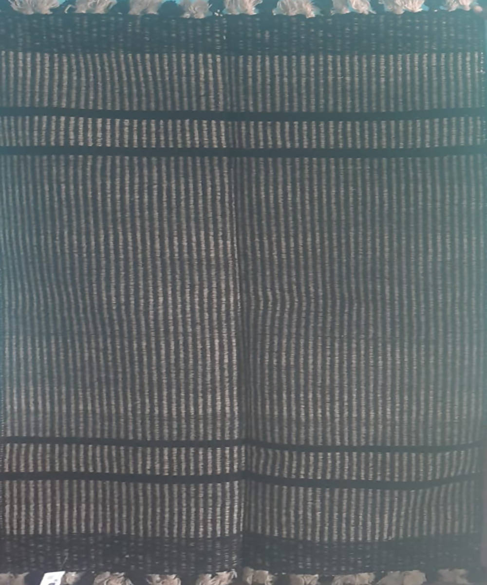 Black handwoven wool and cotton durrie