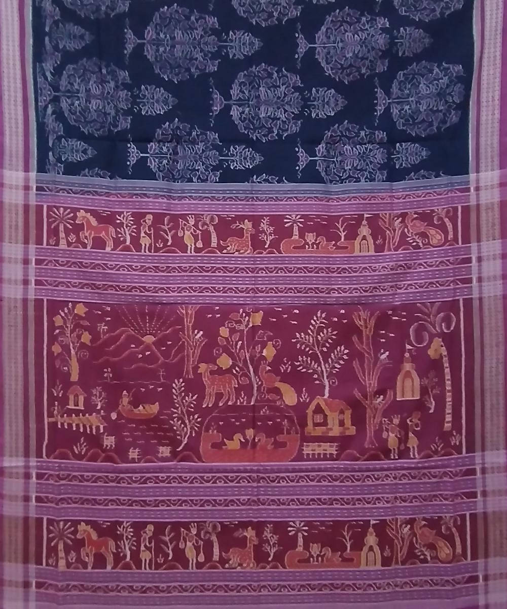 Black pink handwoven cotton sambalpuri saree