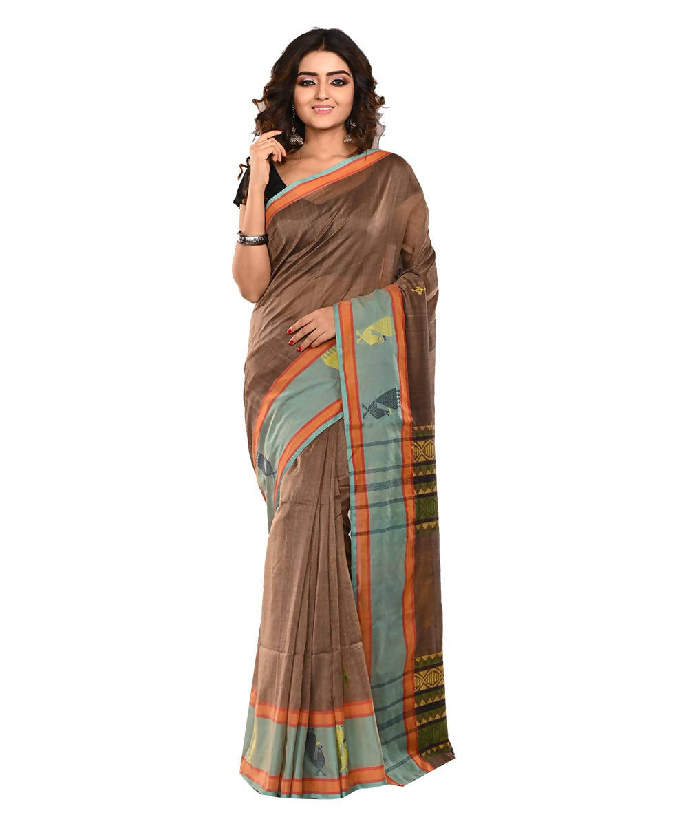 Bengal Handloom Cotton Brown Saree