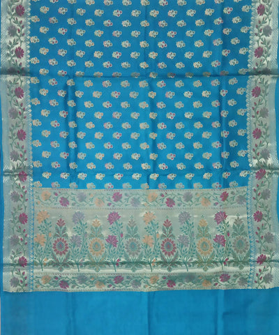 Banarasi Dark Sky Blue Handwoven Tussar Silk Saree