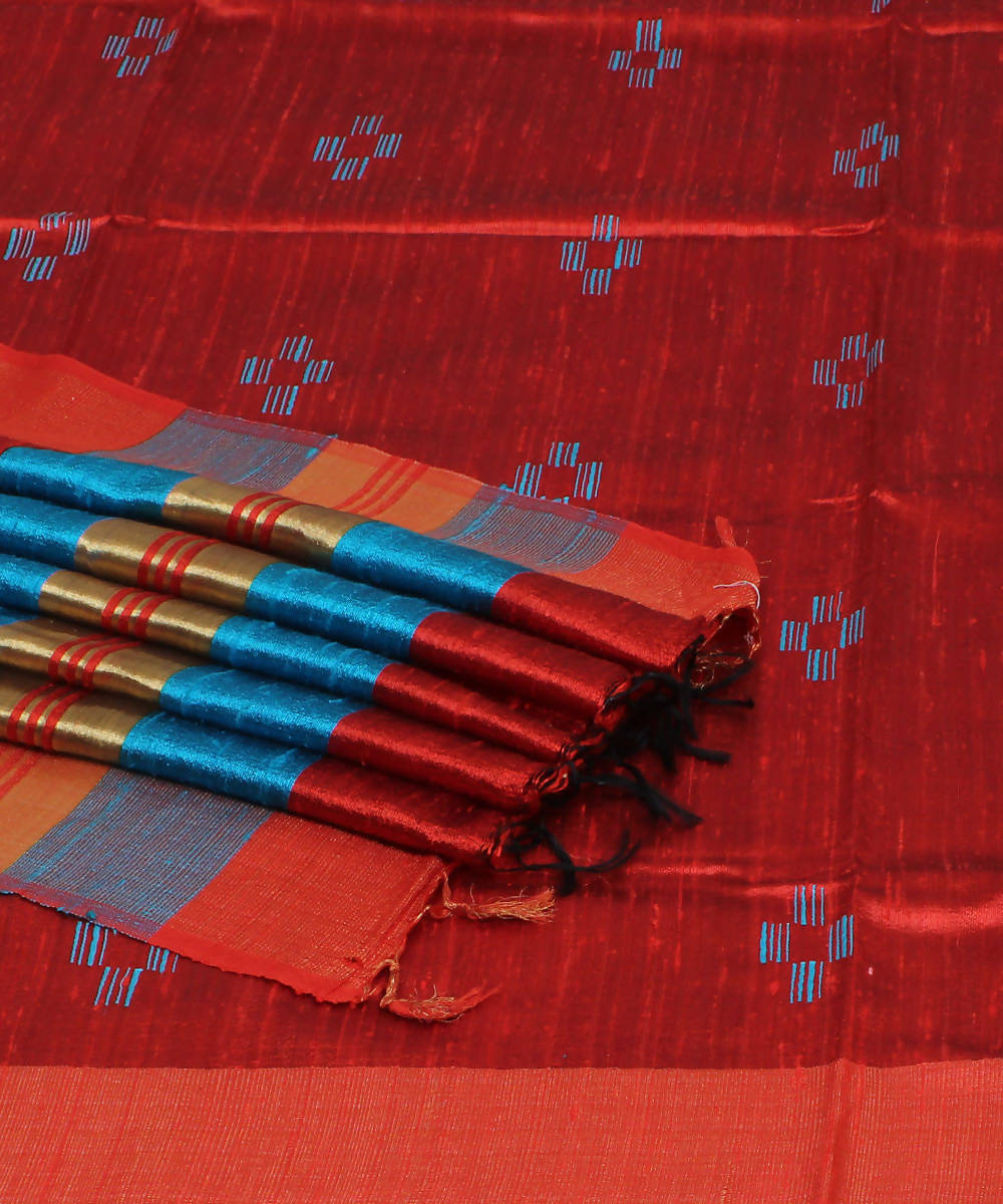 Red and Blue Handloom Tussar Silk Saree