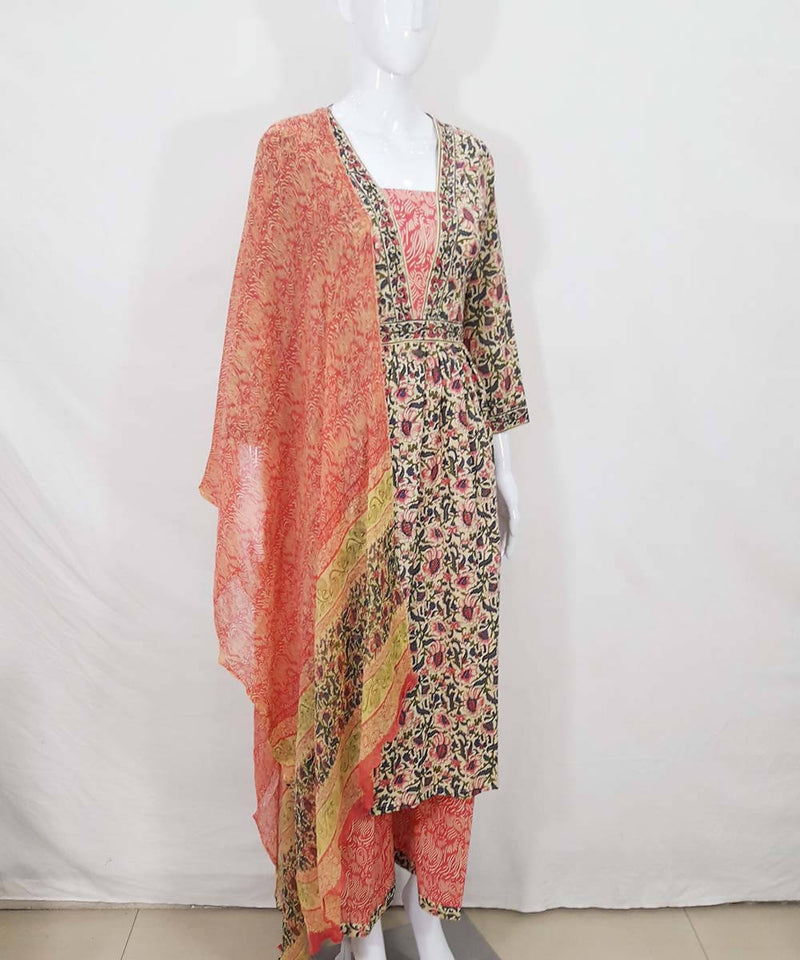 Floral handblock print cotton kurti, plazzo pant and dupatta set