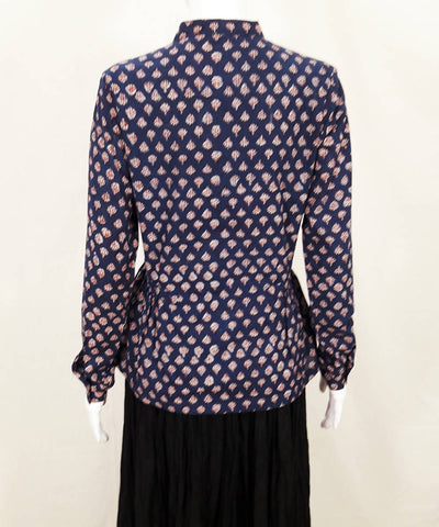Navy blue red hand block printed cotton top