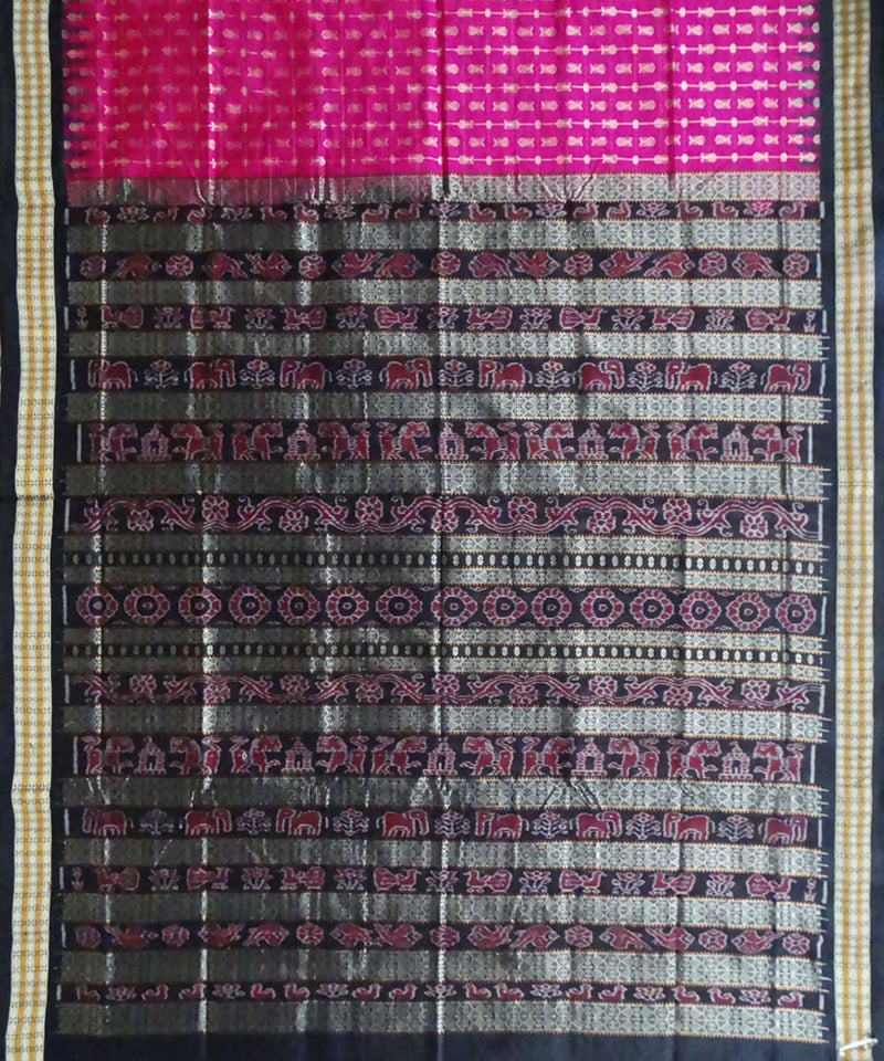 Barbie Pink hazar butti Sonepuri silk Handwoven Saree