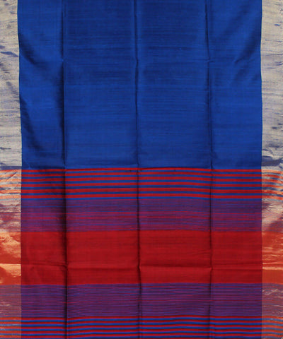 Electric Blue Khadi Handloom Silk Saree