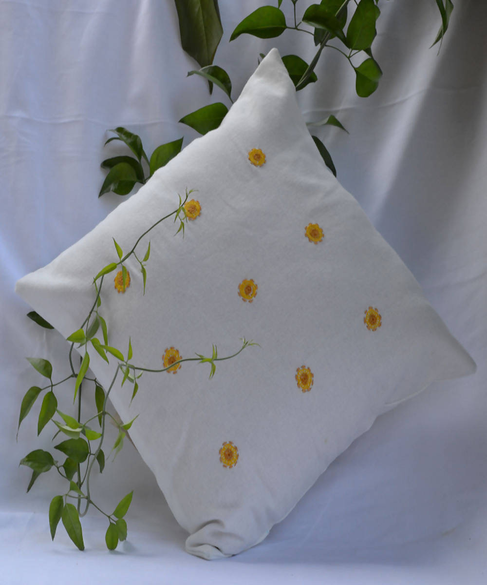 White yellow dots lambani hand embroidery cotton cushion cover
