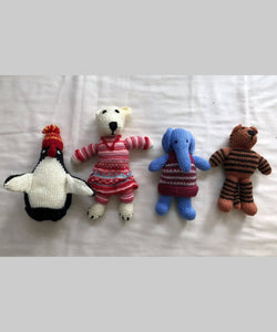 Hand Knitted Woollen Stuffed Toys (Animal Kingdom) Set of 4