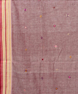purple hand embroidery bengal cotton saree