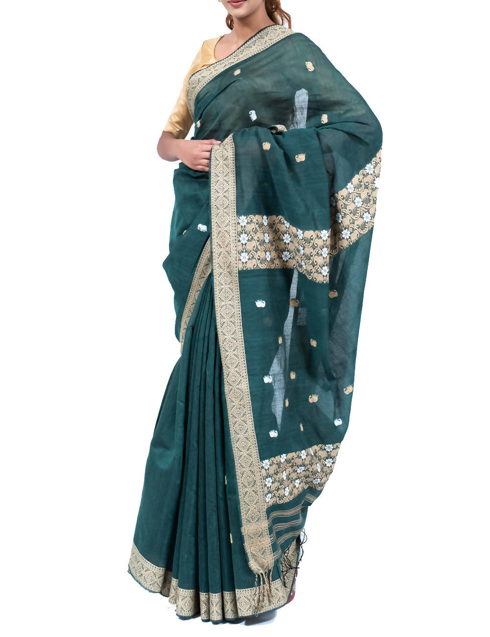 Grey Green Eri Silk Muga Butta Handloom Saree