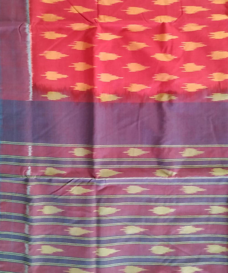 Red Blue Pochampally Ikkat Handloom Cotton Saree