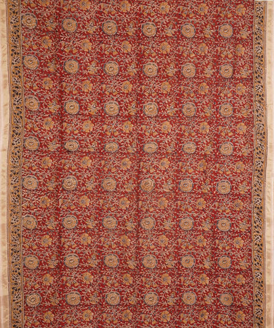 Hand Block Print Red Kalamkari Chanderi Saree