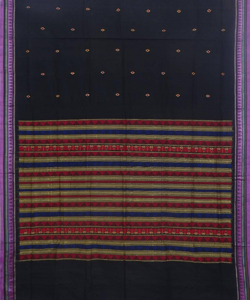 Dongria handwoven black cotton saree