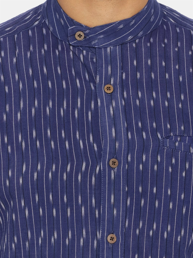 Navy blue extended collared shirt